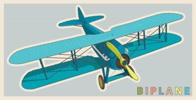 Cuadro Biplano azul en la cosecha y la estilización del color. Modelo de hélice de avión con dos alas. Antiguo avión retro diseñado para la impresión de carteles. Biplano hermoso y realista dibujado del vuel