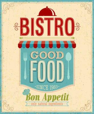 Cuadro Bistro Poster Vintage. Ilustración del vector.
