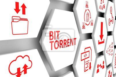 Cuadro BIT TORRENT concepto celular fondo 3d ilustración