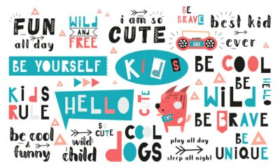 Cuadro Black and white and colored set of hand drawn motivation quotes, phrases and words. Graphic design for t-shirt print, posters, greeting cards. Vector illustration. Cool dogs theme.
