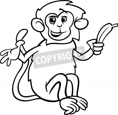 Black and white cartoon illustration of cute monkey with banana ...