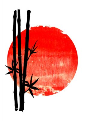 Cuadro Black silhouette of bamboo plants on big red sun