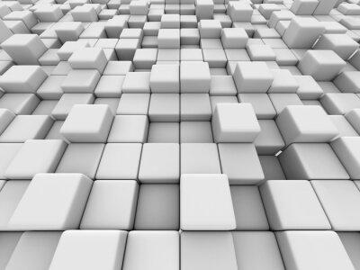 Cuadro Blanco cubos de pared 3d de fondo