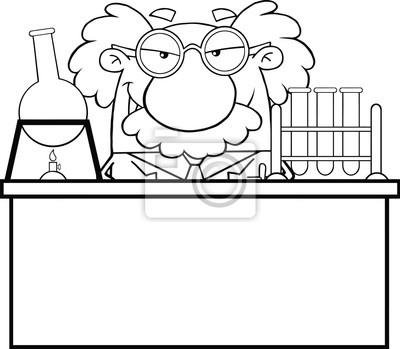 Blanco y negro científico loco o profesor en el laboratorio pinturas ...