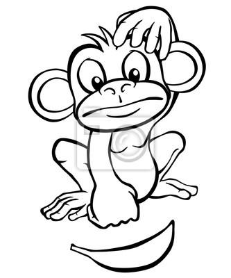 Blanco y negro de dibujos animados mono mirando un plátano. pinturas ...