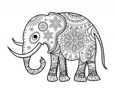 Cuadro Blanco y negro decorado elefante en blanco, elefante decorado vetorial de color, su sfondo bianco