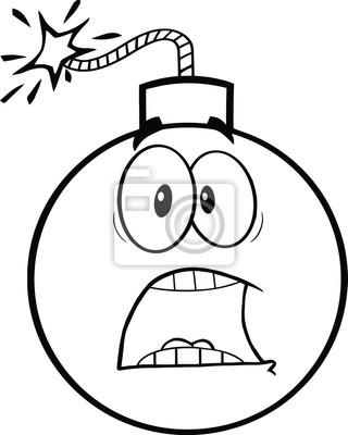 Blanco Y Negro Miedo Personaje De Dibujos Animados Bomba Pinturas