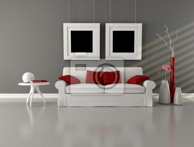 Cuadro blanco y rojo gris Salón minimalista