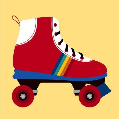 Cuadro Blanco y rojo zapato de patinaje