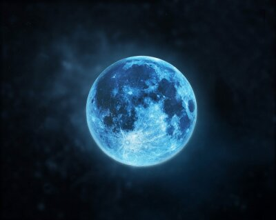 Cuadro Blue full moon atmosphere at dark night sky background, Elements of this image furnished by NASA