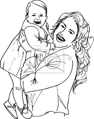 Boceto de la mamá y el niño, ilustración vectorial pinturas para la ...