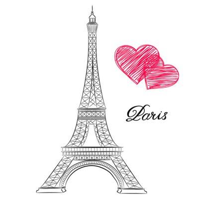 Cuadro Boceto de París, Torre Eiffel con corazones. Ilustración del vector