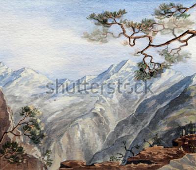 Cuadro boceto dibujado a mano con montañas