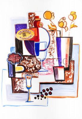 Cuadro Bodegón con botellas de cerámica.