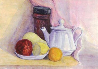 Cuadro Bodegón con frutas y hervidor. Pera, limón, mandarina en el plato. Pintura de acuarela