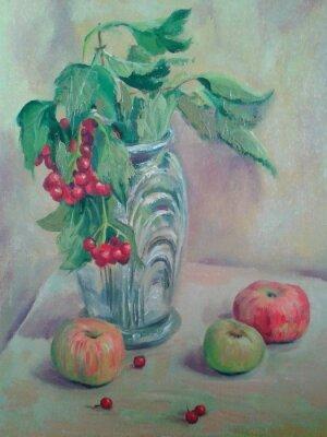 Cuadro Bodegón con ramo y fruta. Manzanas y grosellas rojas. Pintura al óleo