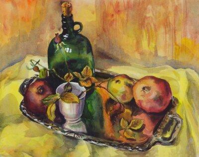 Cuadro Bodegón con rosas, granadas y una botella de vino en una bandeja. Pintura de acuarela