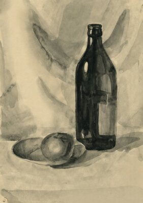 Cuadro Bodegón con una botella y una manzana, acuarela