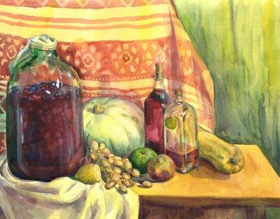 Cuadro Bodegón con vino, frutas y verduras. Pintura de acuarela
