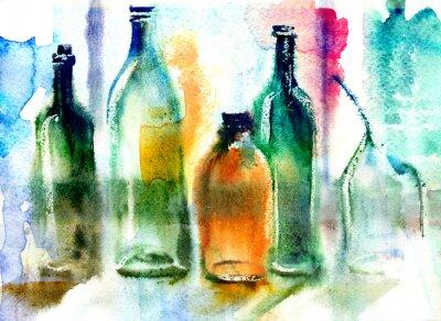 Cuadro Bodegón de varias botellas
