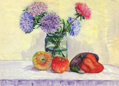 Cuadro Bodegón. Ramo de aster, manzanas, pimientos, berenjenas. Pintura de acuarela