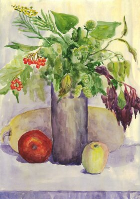 Cuadro Bodegón. Ramo, Manzana, calabacín, Rowan. Pintura de acuarela