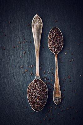 Cuadro Bodegón simple con semillas de mostaza negra