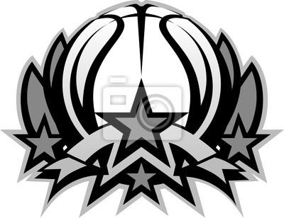 402cbd1cae6d4 Bola del baloncesto vector plantilla gráfica con estrellas pinturas ...