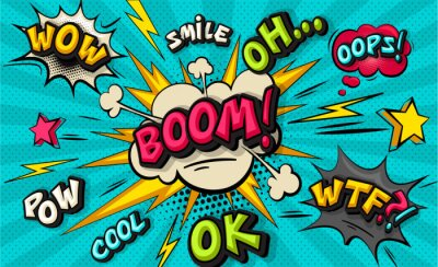 Cuadro Boom pop art cloud bubble. Smile, wow, pow, cool, ok, oops, wtf funny speech bubble. Trendy Colorful retro vintage background in pop art retro comic style. Illustration easy editable for Your design.