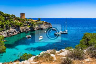 Boote en el buque de Cala Pi, Mallorca Spanien, Mittelmeer Insel