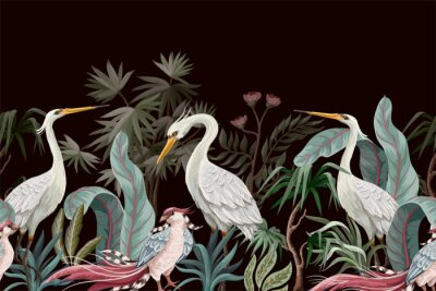Cuadro Border in chinoiserie style with storks and peonies. Vector.