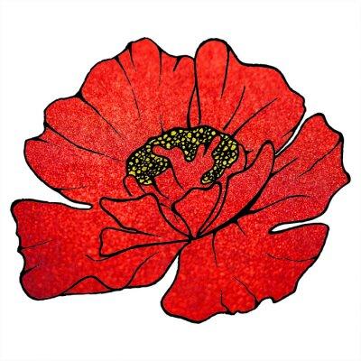 Cuadro Borrosa rojo escarlata glitter flor amapola textura de fondo