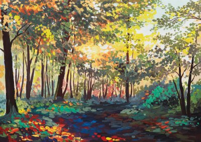 Cuadro Bosque colorido con árboles en primavera al atardecer, pintura al óleo