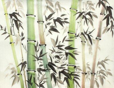 Cuadro bosque de bambú brillante