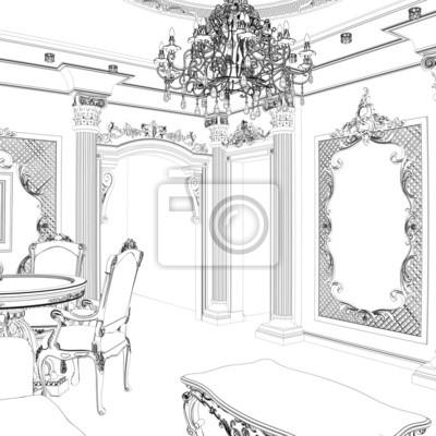 Bosquejo de comedor clásico con muebles tallados de época pinturas ...
