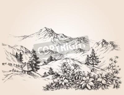 Cuadro Bosquejo del paisaje de las montañas
