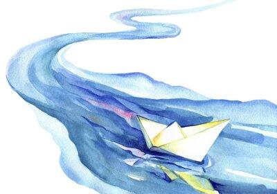 Cuadro Bote de papel blanco flotando en el agua. Pintura de la acuarela del río y de la nave en un fondo blanco.