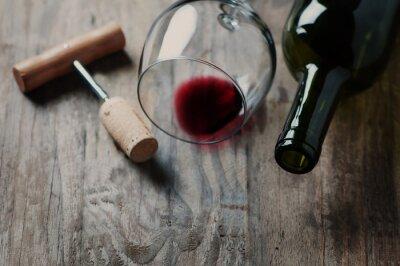 Cuadro Botella de vino, corcho y sacacorchos