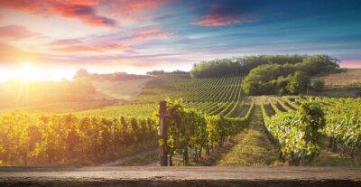 Cuadro Botella de vino tinto y copa de vino en barrica de wodden. Hermoso fondo de la Toscana