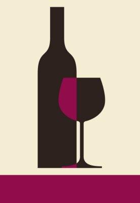 Cuadro Botella de vino y vidrio. Diseño de la lista de vinos