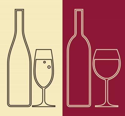 Cuadro Botellas y vasos de vino y champán