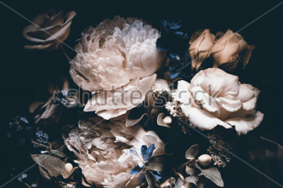 Cuadro bouquet of pink peonies, dark background,