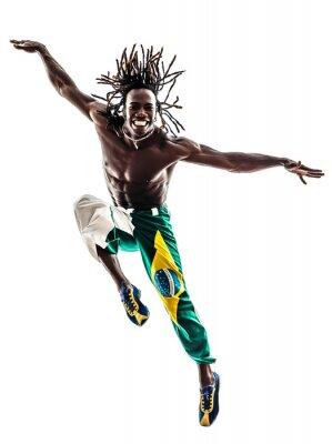 Cuadro brazilian hombre negro bailarina bailando salto silueta