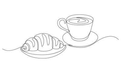 Cuadro breakfast with croissant and coffee drawn in one line style.