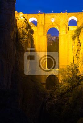 Bridge called Puente Nuevo  in night time.   Ronda