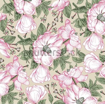 Cuadro Brier, perro rosa, rosa mosqueta. Patrón clásico Hermosa floración realista blanco aislado flores barrocas. Fondo vintage Dibujo grabado. Fondo de pantalla a mano alzada. Vector de estilo victoriano i
