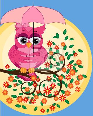 Brillante Dibujos Animados Hermoso Búho Rosado Con Hermosos
