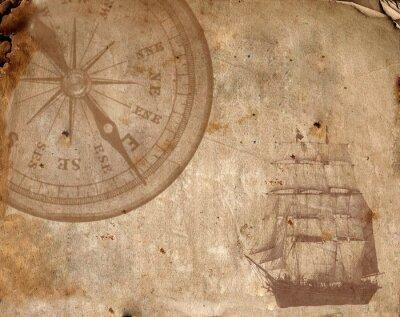 Cuadro Brújula en el antiguo papel