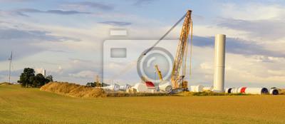 Budowa wiatraków na polu w Niemczech