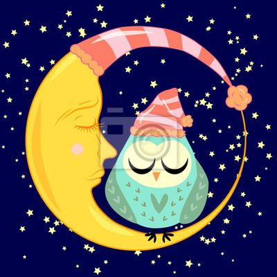 Buho Dormido De Dibujos Animados Lindo En Circulos Con Los Ojos